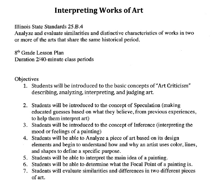 Lesson Plan AMS Art Room – Lesson Plan Objectives